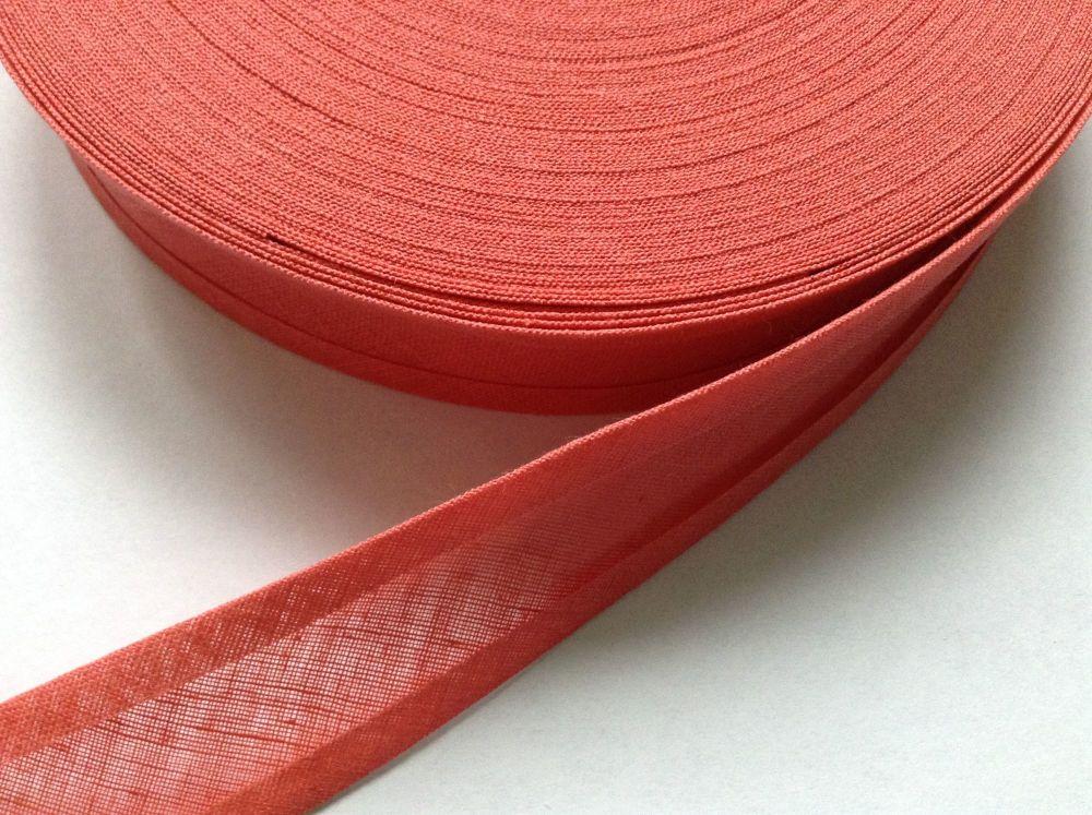 Coral Pink Sewing Tape 25mm Wide Bias Binding Ribbon 100% Cotton 1m