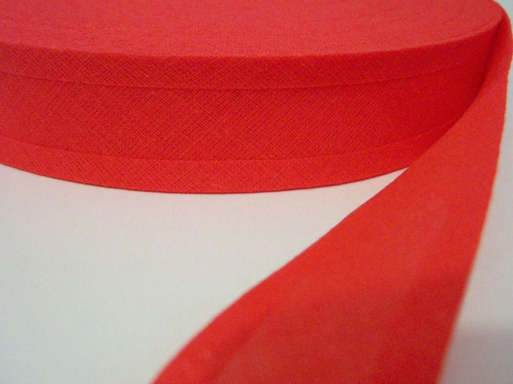 Bright Red Cotton Bias Binding Tape (Pre-Folded)