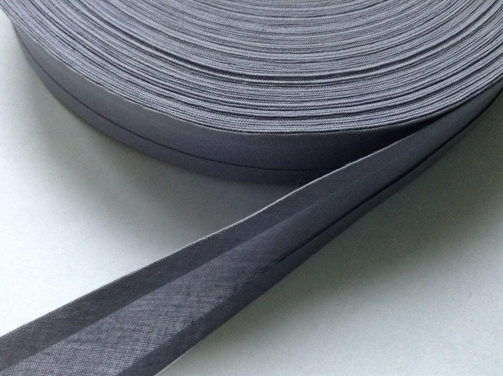 25mm wide bias binding tape - steel grey