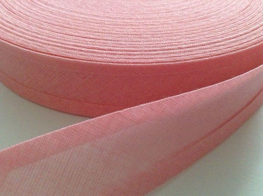 25mm bias binding mid pink - 50 metre reel