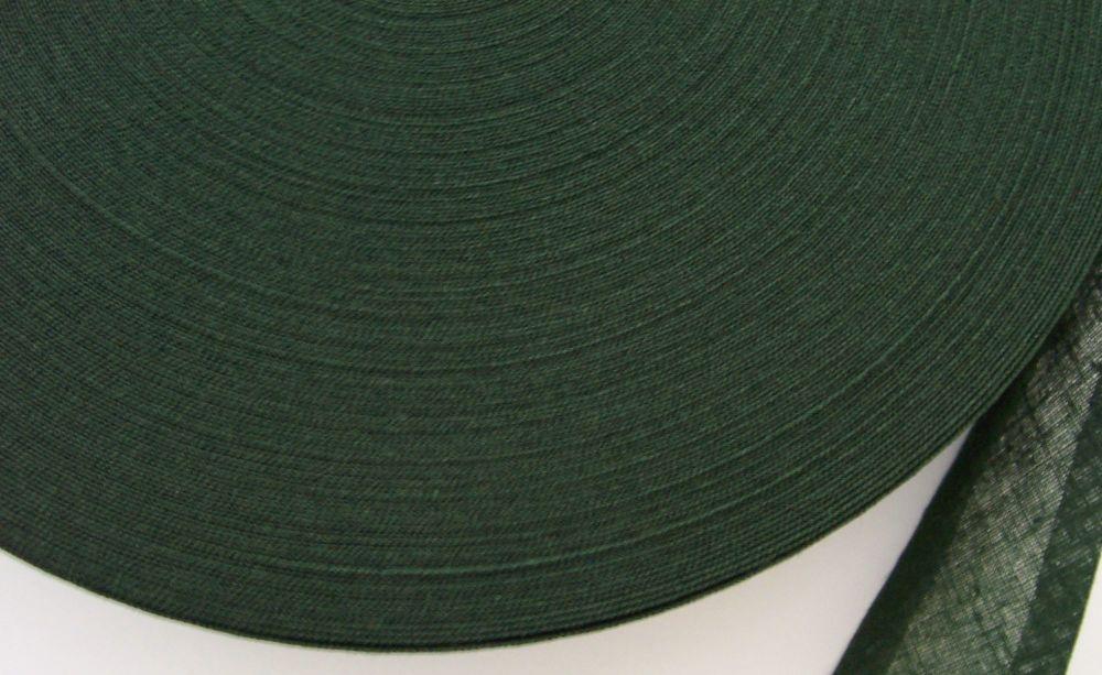 25mm wide dark green bias binding - 50 metre reel
