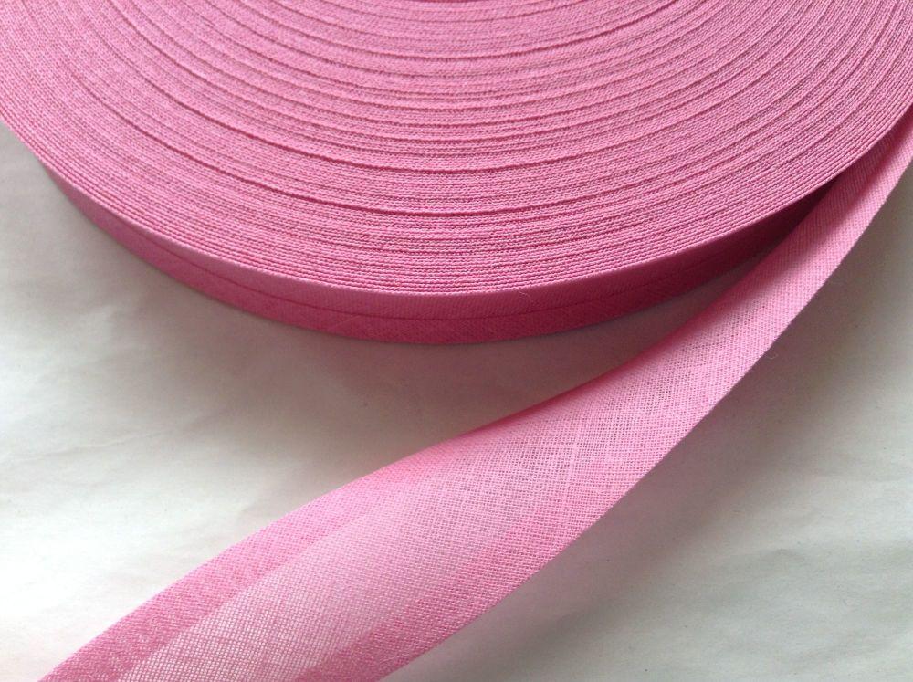 50 metre reel of cerise pink cotton bias binding