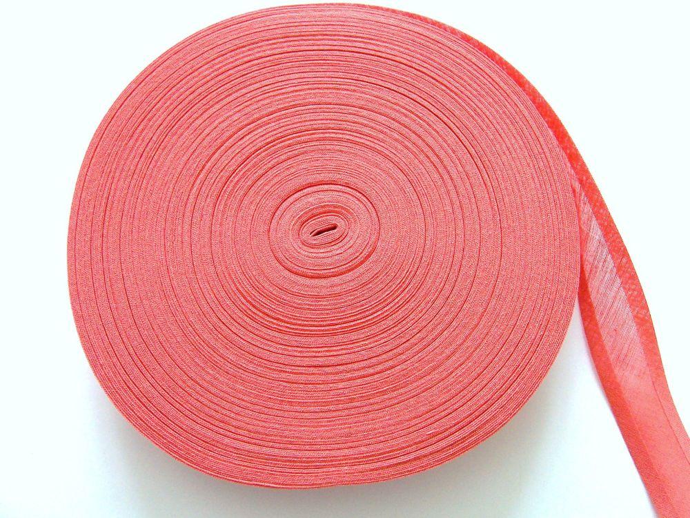 Coral Pink Bias Binding - 50 Metres