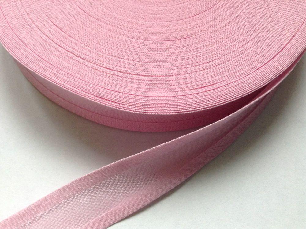 cotton bias binding tape 50 metre reel - baby pink