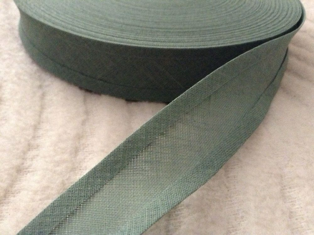 cotton bias binding tape 50 metres x 25mm Leaf Green