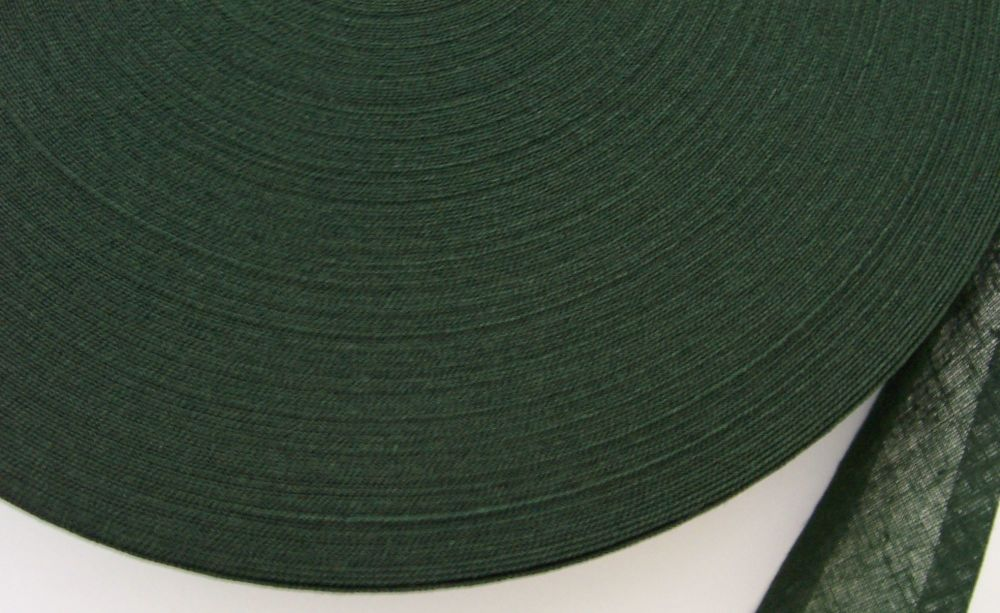 Dark Green 25mm Wide Cotton Bias Binding
