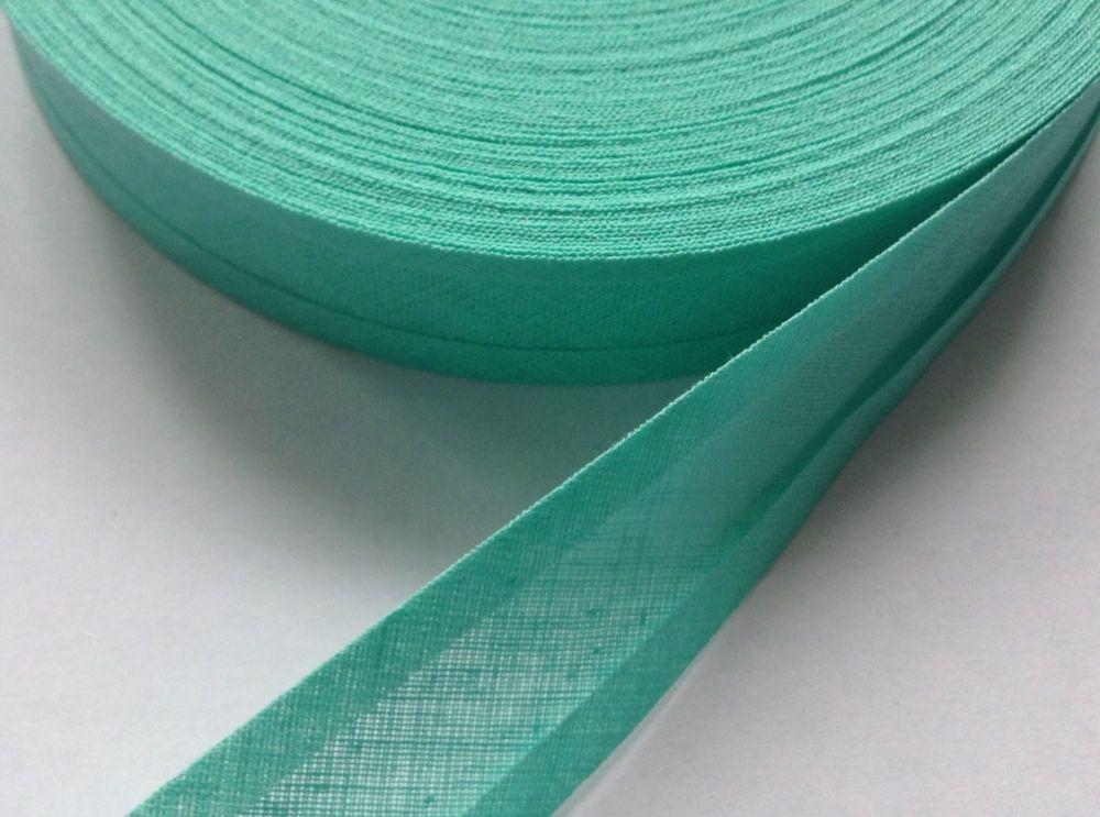 mint green bias binding 1 metre x 25mm 100% cotton double fold tape