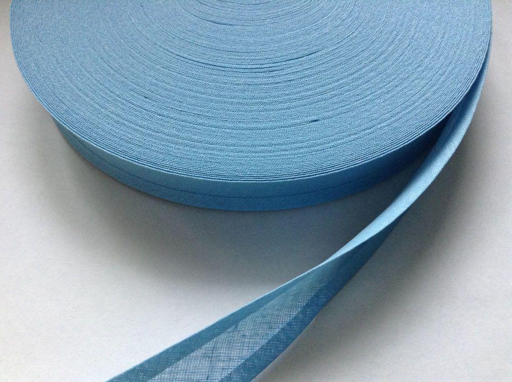 """blue bias binding 1"""" Wide Fabric Edging 100% Cotton Sky Blue 1 Metre"""