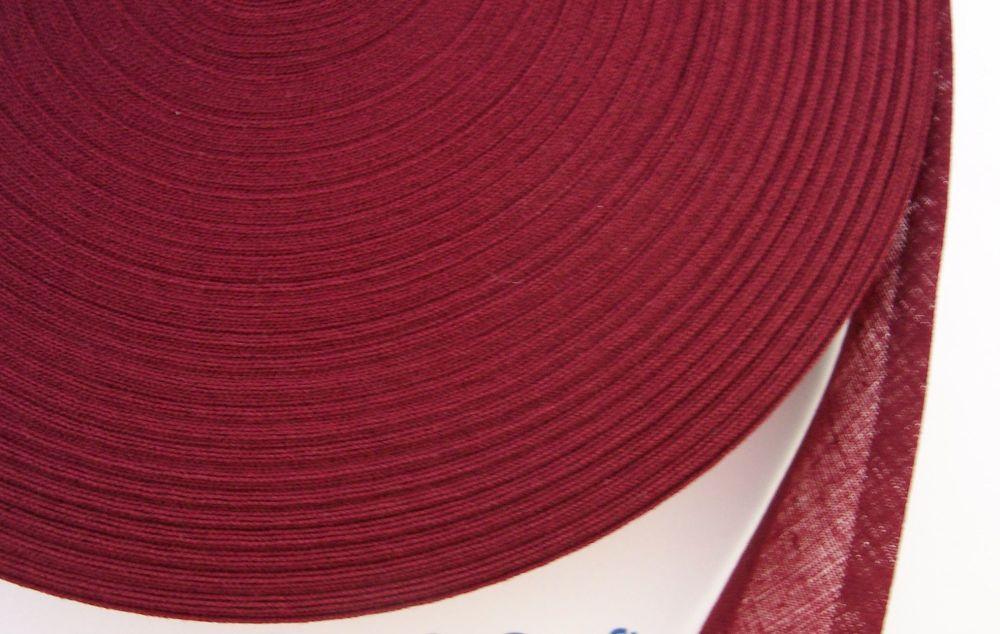 maroon red cotton trimming tape - 50 metre reel