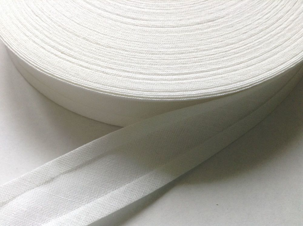 25mm wide white bias binding - by the reel
