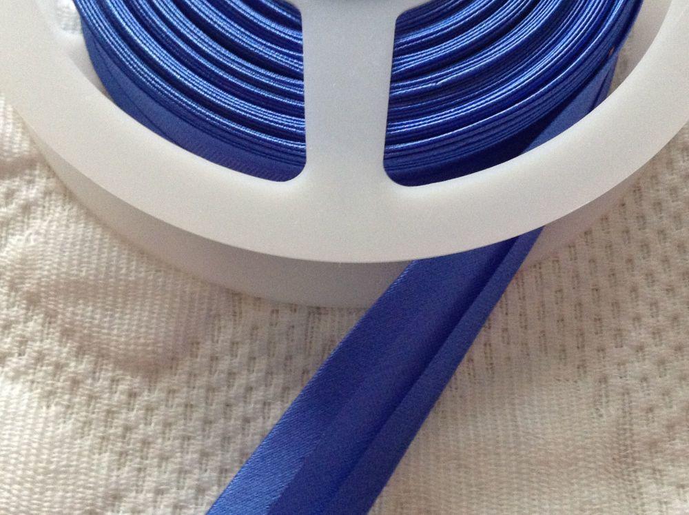 Royal Blue Satin Bias Binding - 25 metre Reel