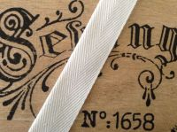 Herringbone Webbing Tape White 38mm Wide Aprons Blankets Bag Handles