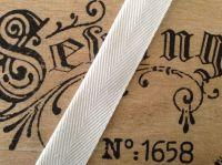25mm Herringbone Tape Half Metre Woven White Webbing