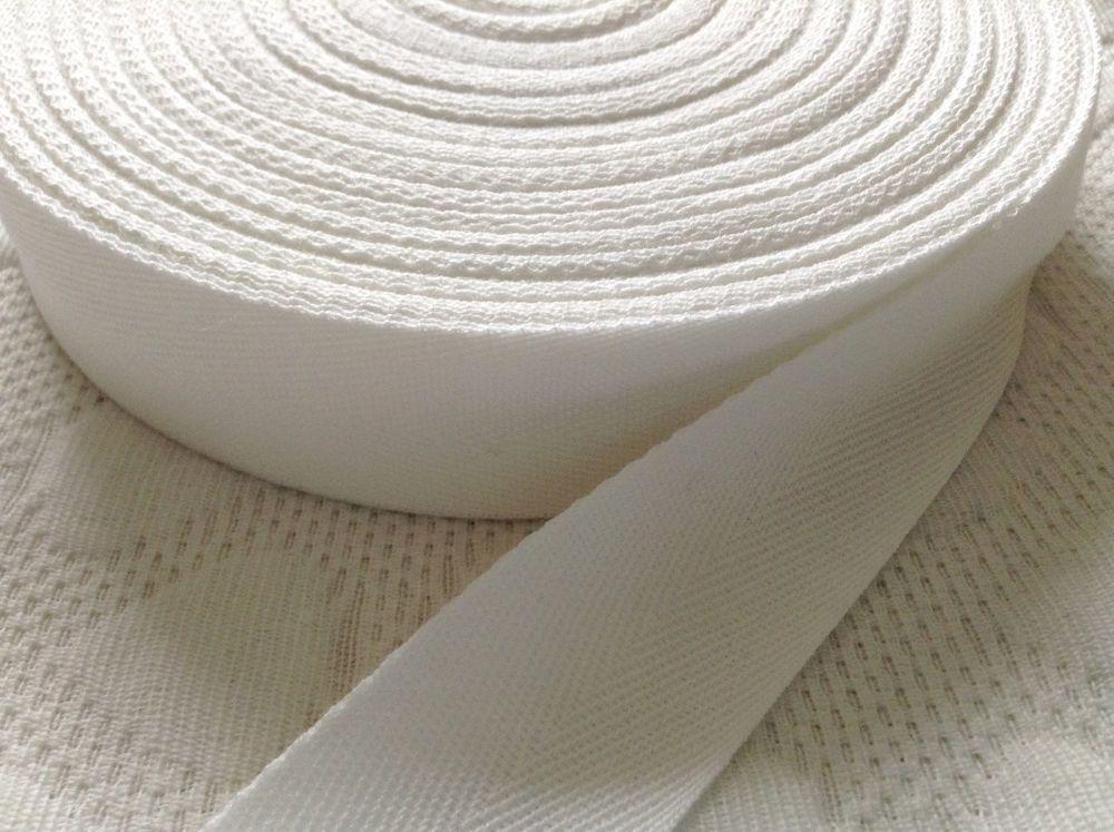 Herringbone Tape 25mm White Acrylic Twill Blankets Bag Handles Webbing