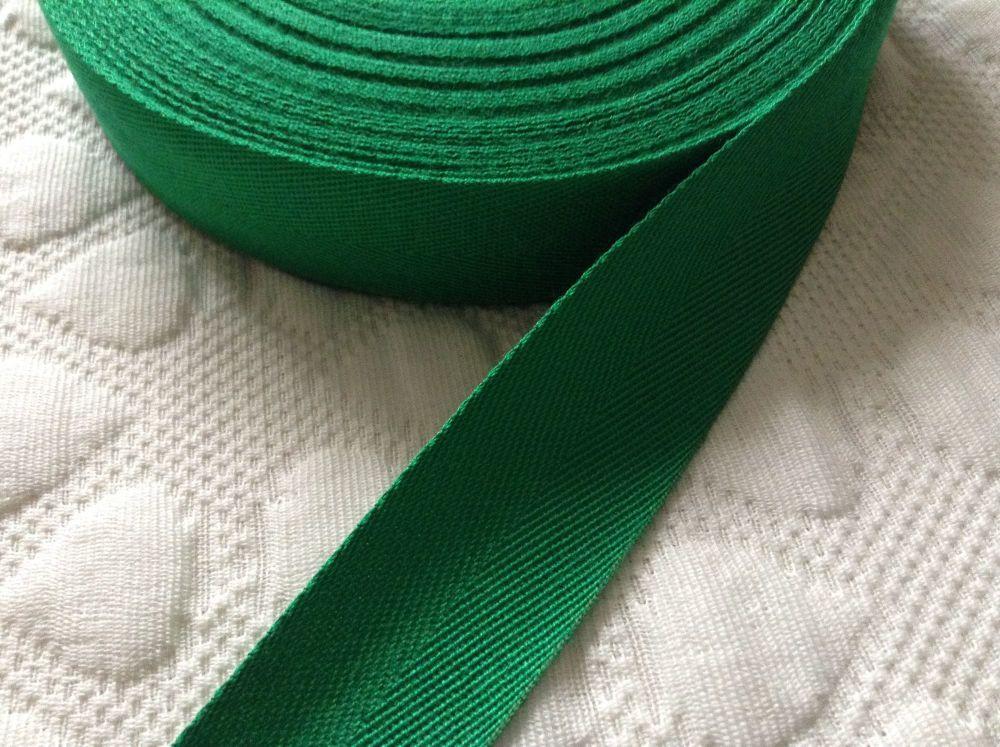 Green Webbing Tape For Aprons Bag Handles 25mm Wide - Emerald