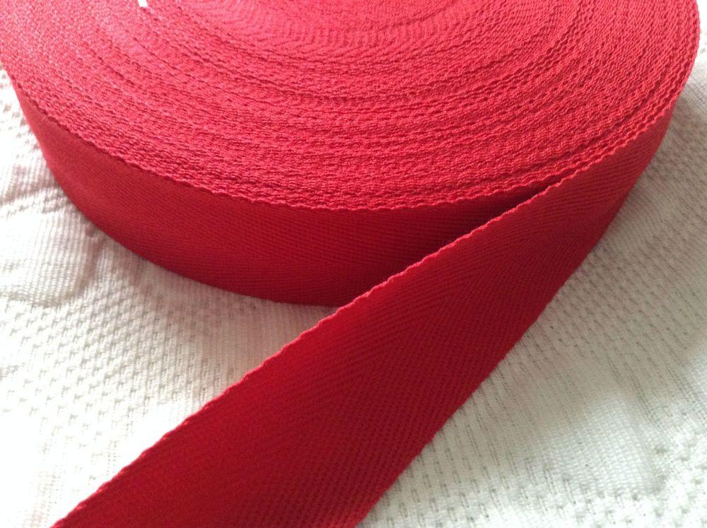 Red Herringbone Tape 38mm Woven Webbing Half Metre Length