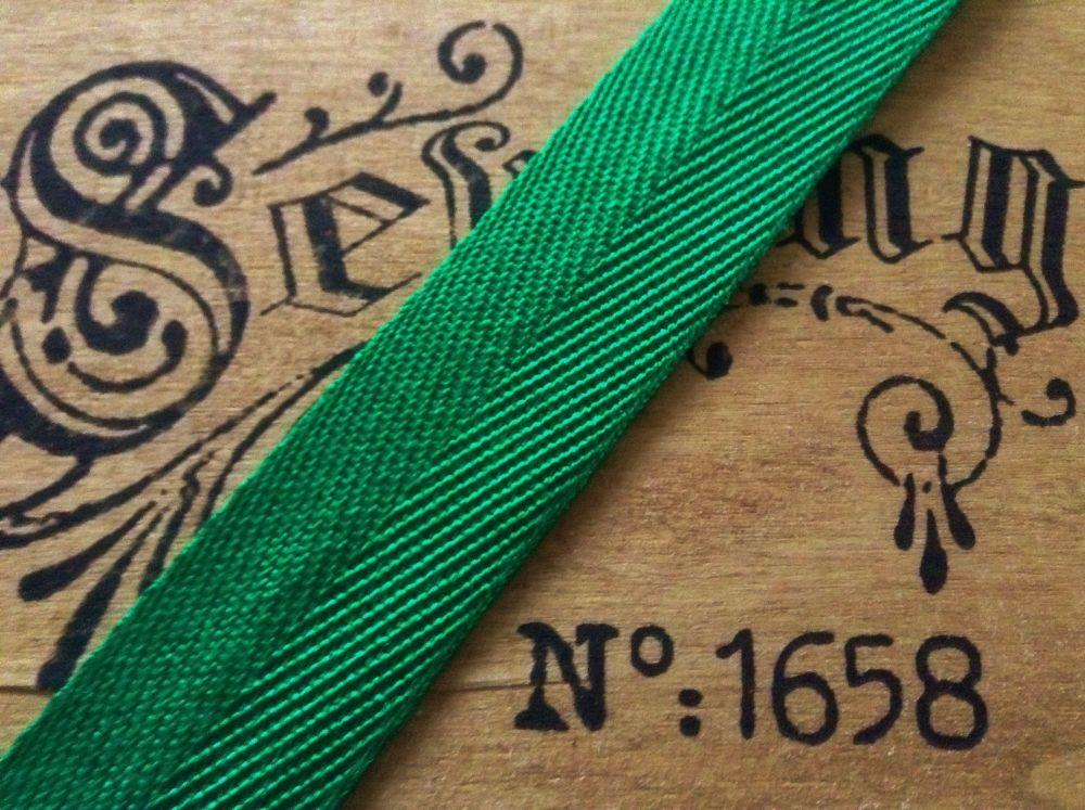 herringbone tape 38mm soft acrylic blanket webbing twill emerald green