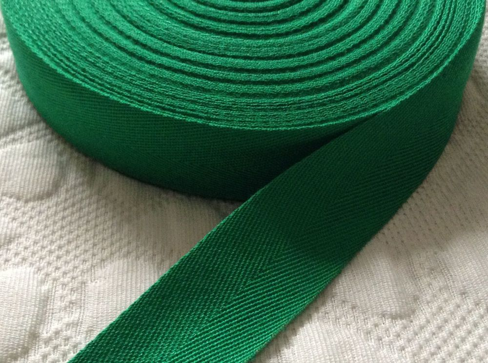 green webbing tape 38mm soft acrylic woven twill for aprons EMERALD