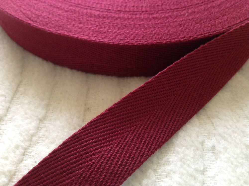 Maroon Red Herringbone Webbing 25mm Twill Tape Aprons Bags Blankets
