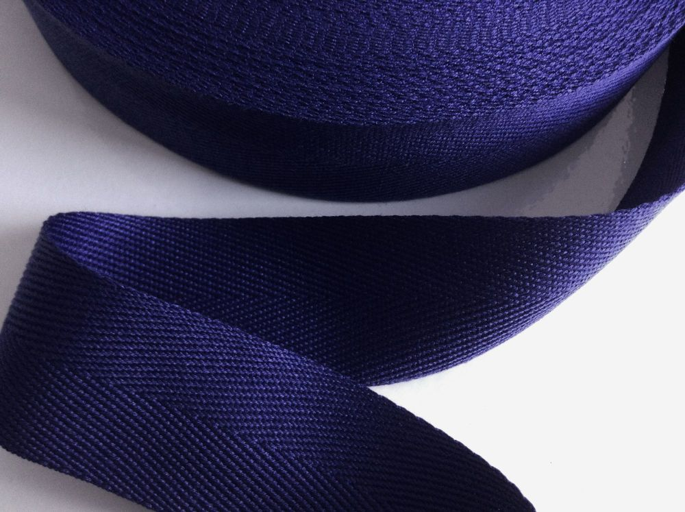Navy Blue Herringbone Tape 38mm Soft Acrylic Blanket Webbing Twill 1m