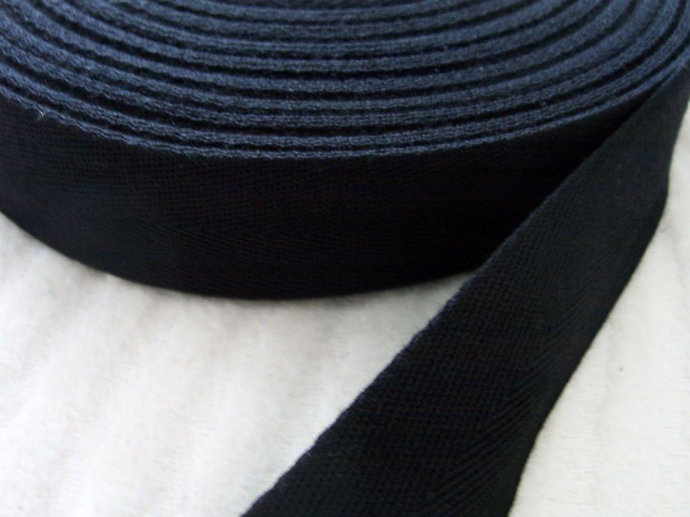 25mm Herringbone Tape Half Metre Woven Black Webbing