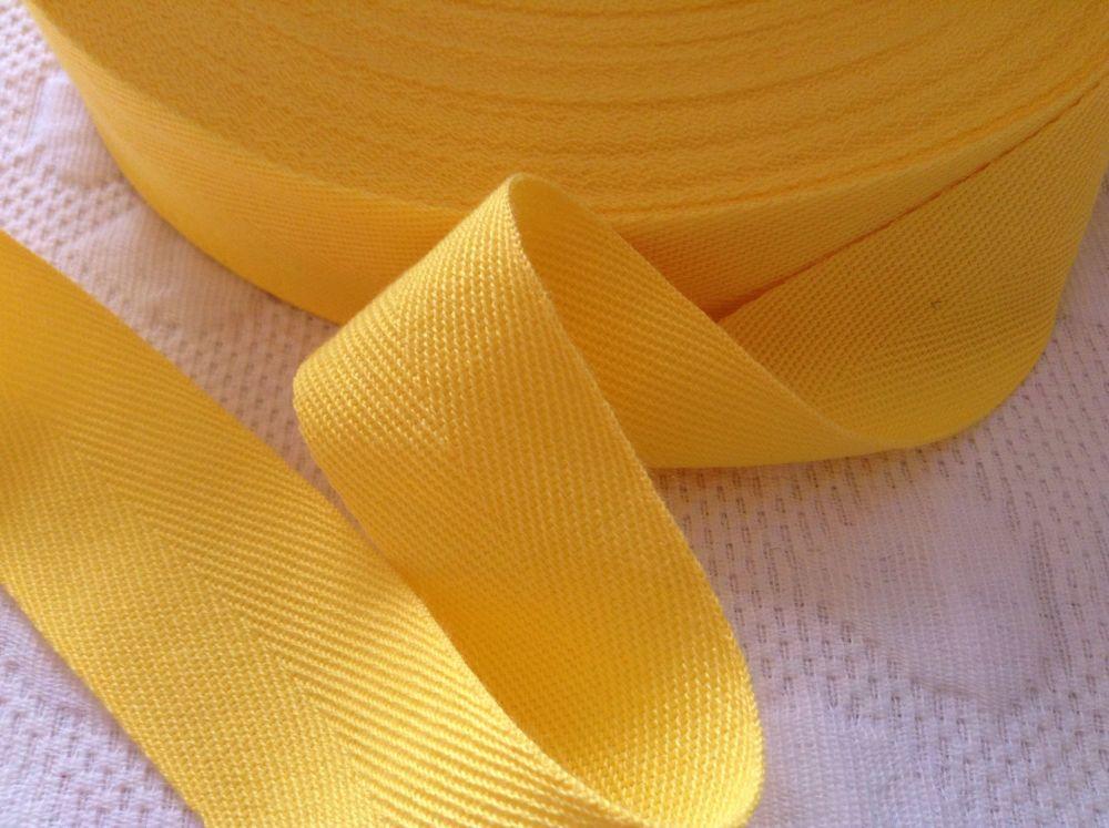 Yellow Tape 1 Inch Soft Woven Herringbone Webbing Per Half Metre