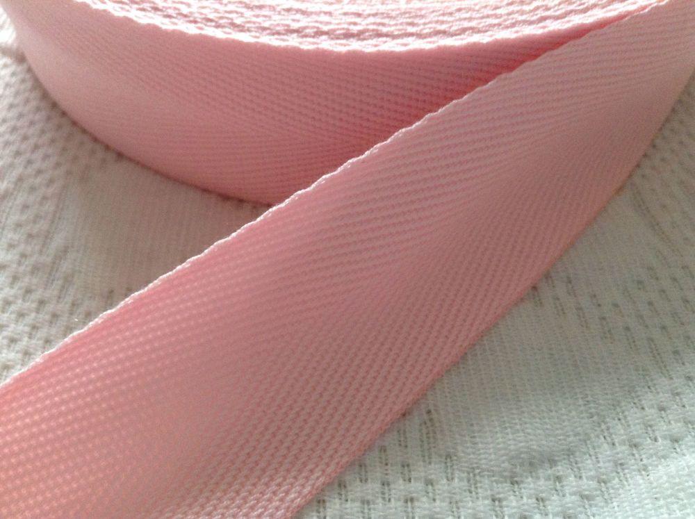 Pink Herringbone Webbing Tape Aprons Bag Handles 25mm Wide