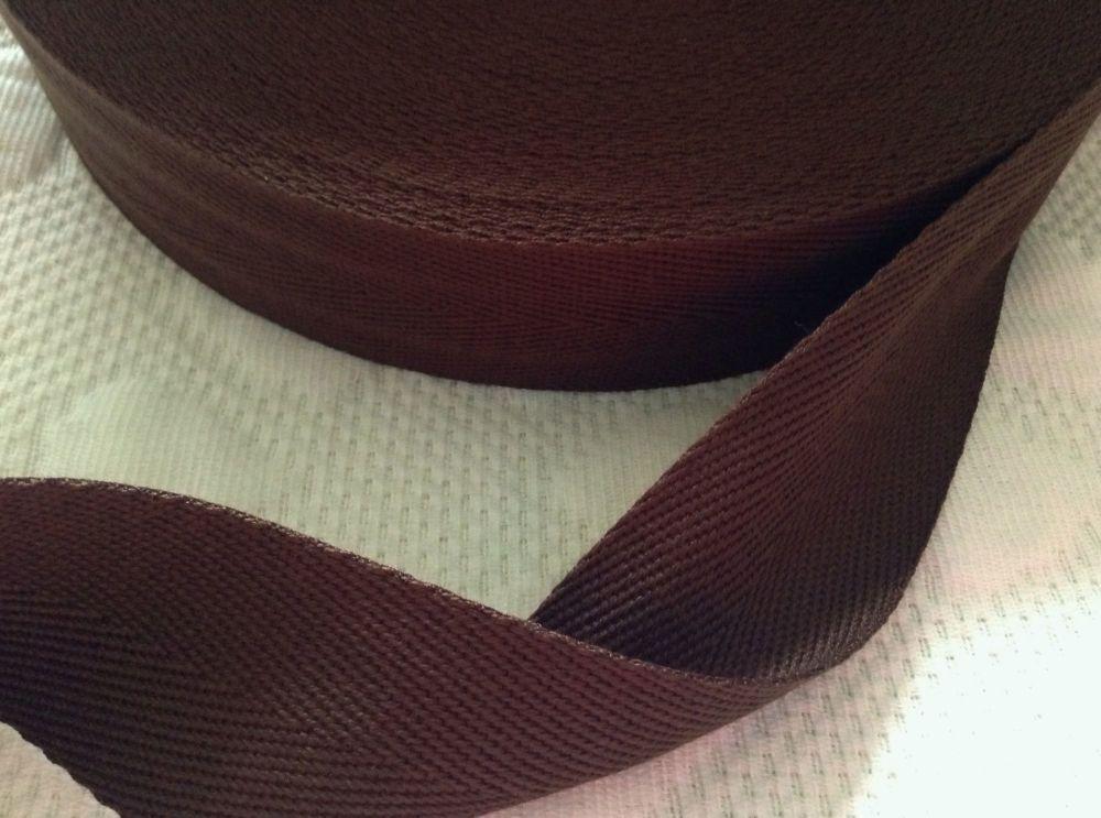 38mm Brown Webbing Tape Acrylic Twill Herringbone Bag Handles Aprons