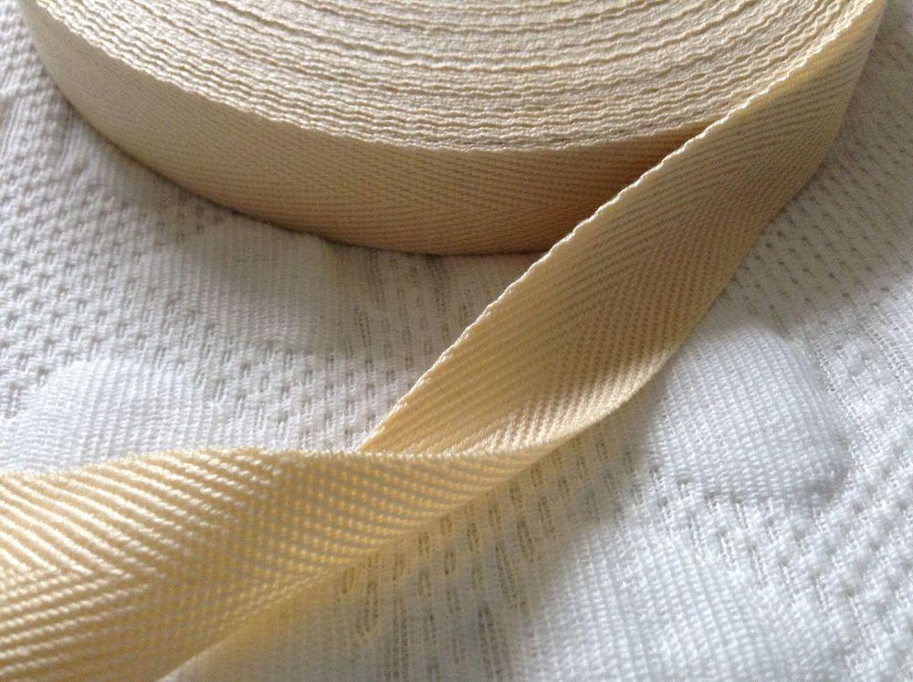 Cream Herringbone Tape 38mm Soft Acrylic Blanket Webbing Twill 1m Aran