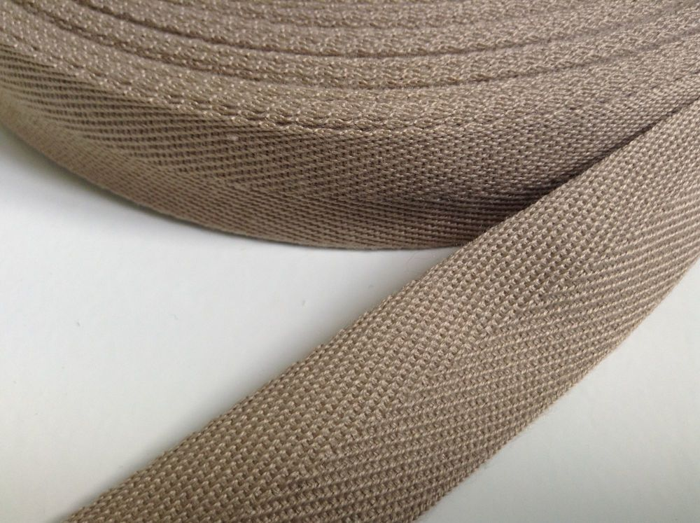 1 Inch Dark Beige Webbing Tape Woven Herringbone Pattern Twill 25mm