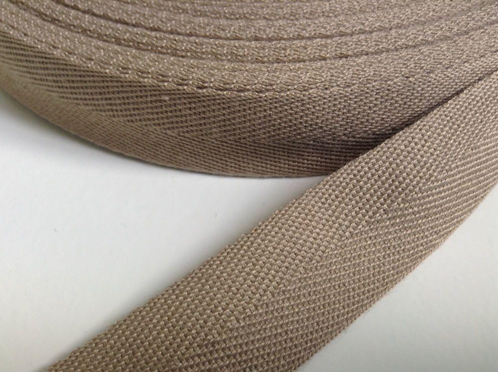 Dark Beige Herringbone Webbing 25mm Twill Tape Aprons Bags Blankets