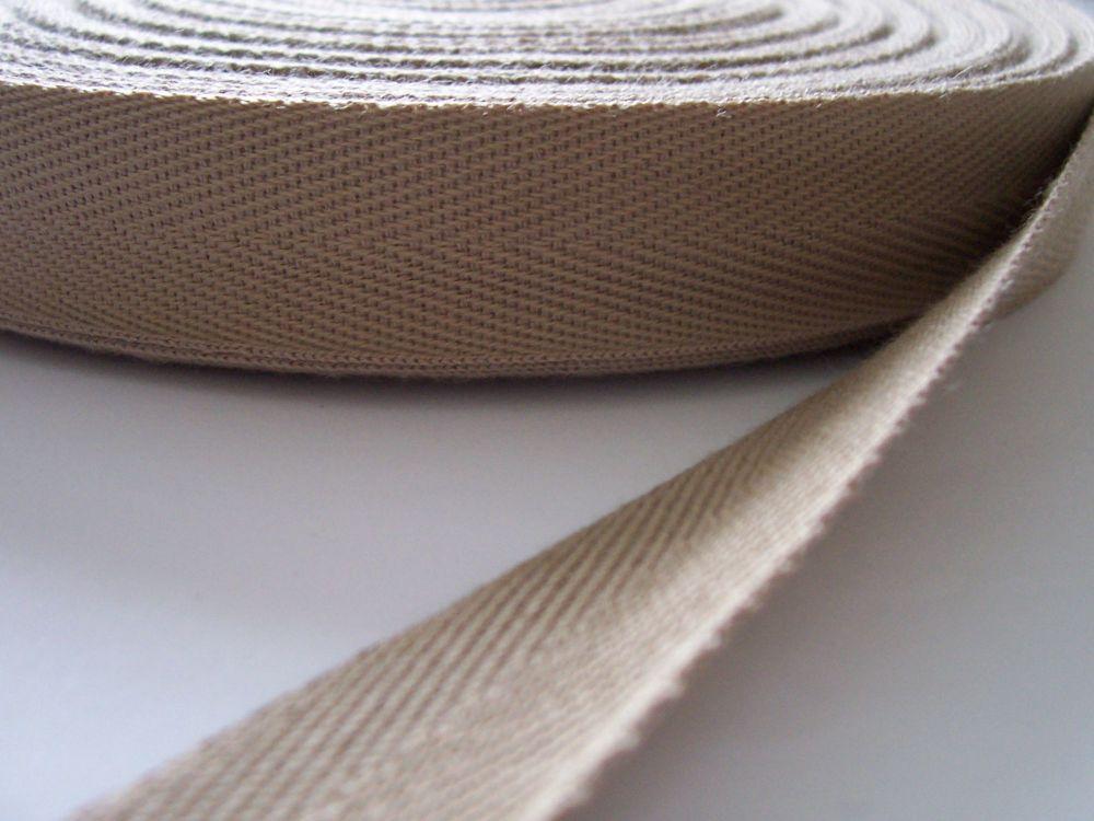Beige Herringbone Webbing Tape 38mm Wide Aprons Blankets Bag Handles