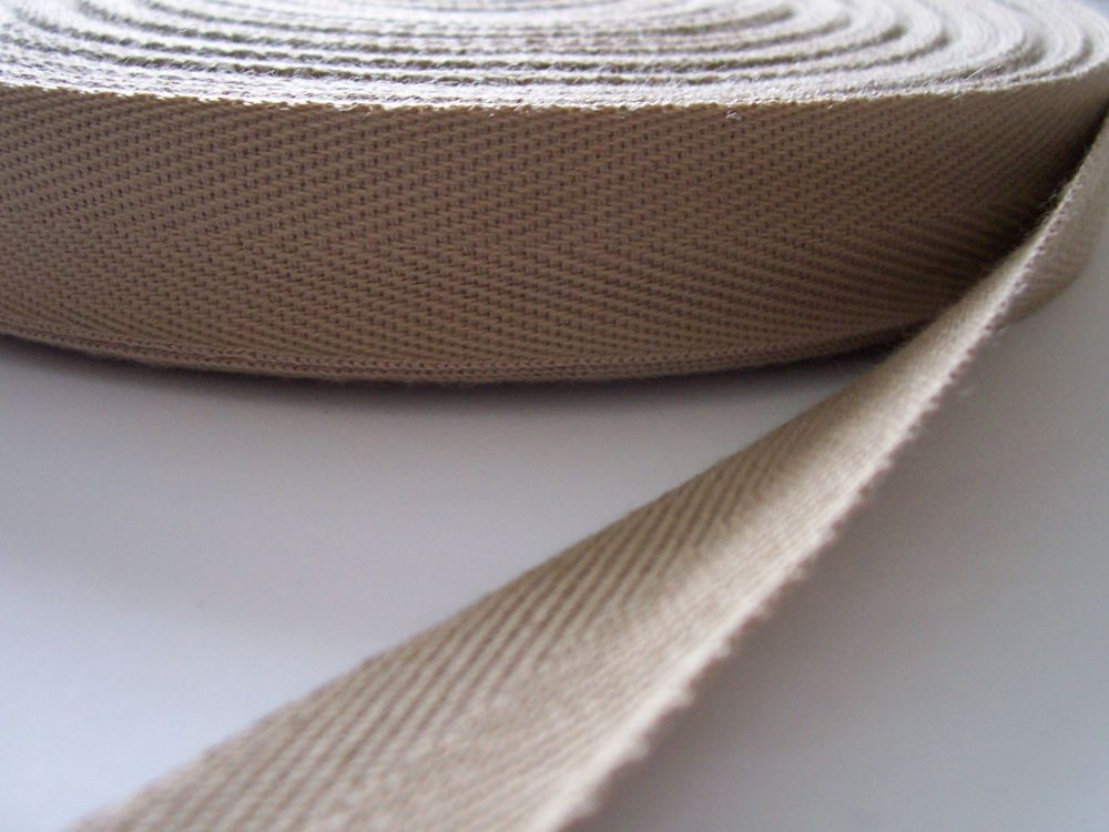 beige webbing tape for aprons pinafores bag handles 38mm x 3 metres