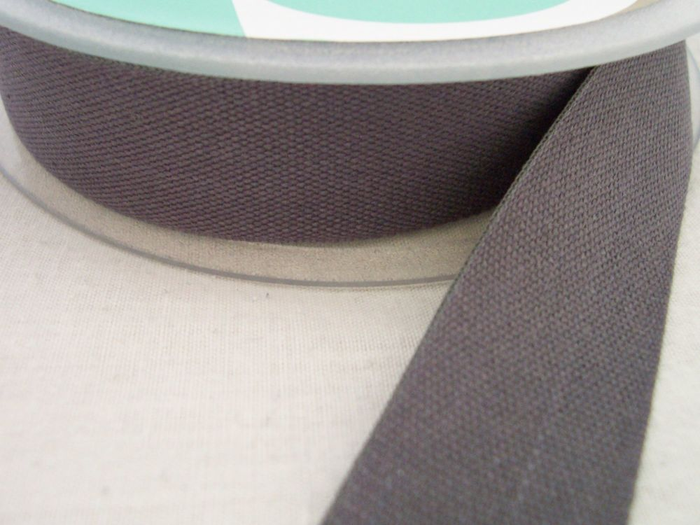 dark grey tape 100% cotton twill 25mm for aprons bags crafts Safisa