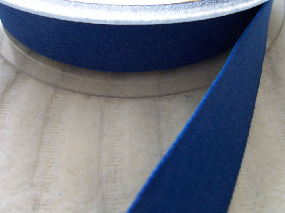 Royal Blue Cotton Twill Tape 25mm India Tape Apron Ties Bag Handles 1m