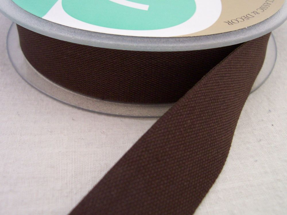 25mm Wide Brown Cotton Tape