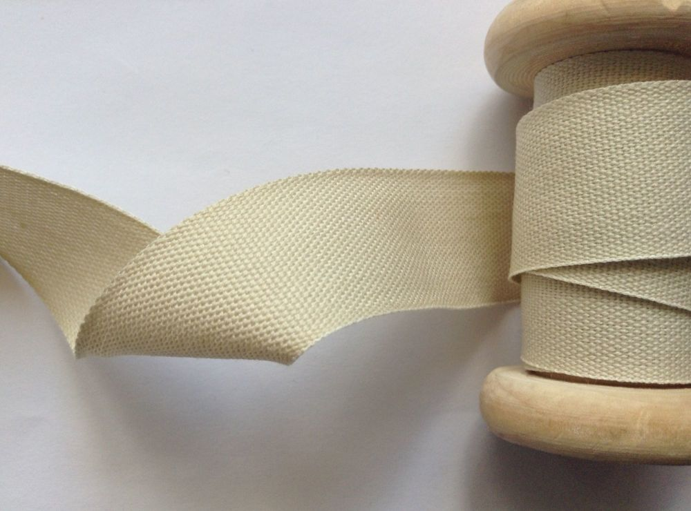 Beige Cotton Tape 25mm Light Beige India Tape Apron Ties Bag Handles