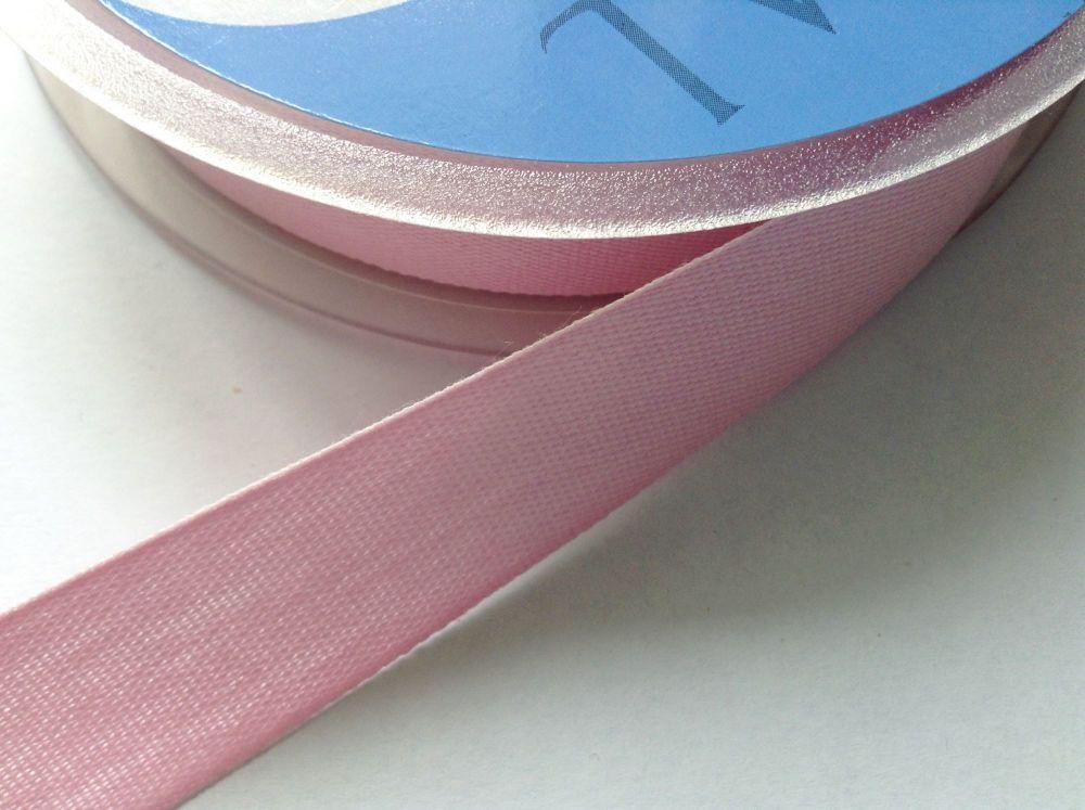 Pink Tape Aprons Cushion Ties 14mm Half Metre Light Pink