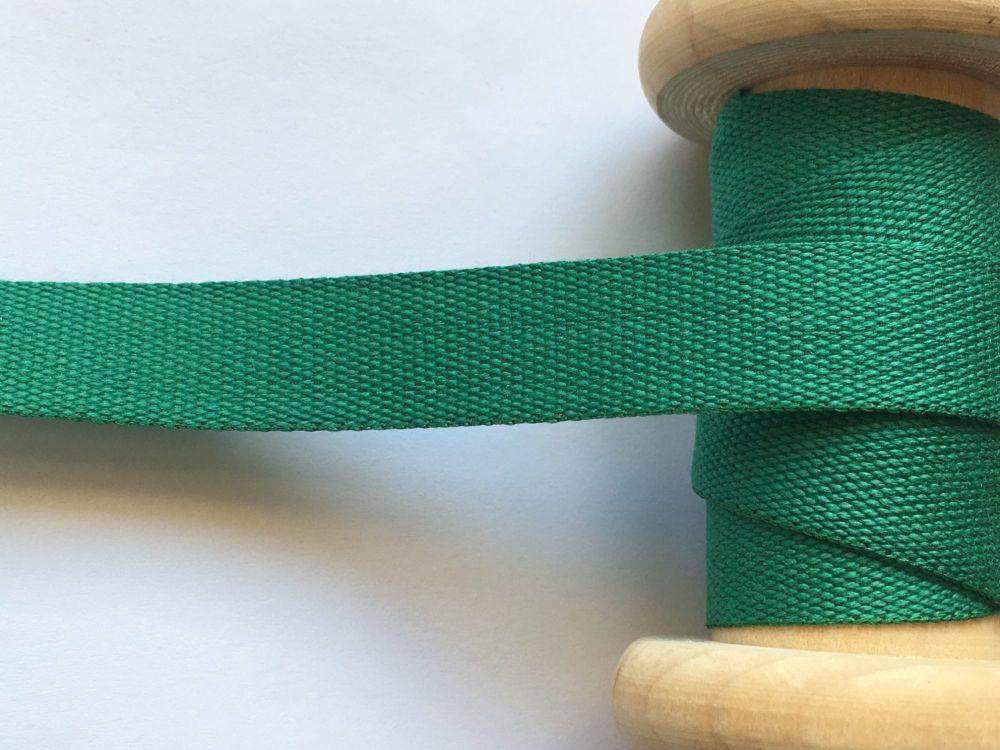 Green Apron Tape 14mm Wide Half Metre Dark Green 100% Cotton