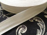 25mm White Cotton Tape  - 50 Metre Reel