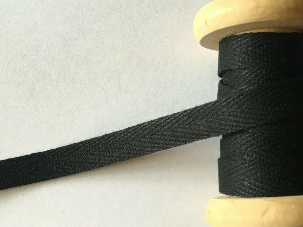 10mm Wide Herringbone Webbing tape - Black