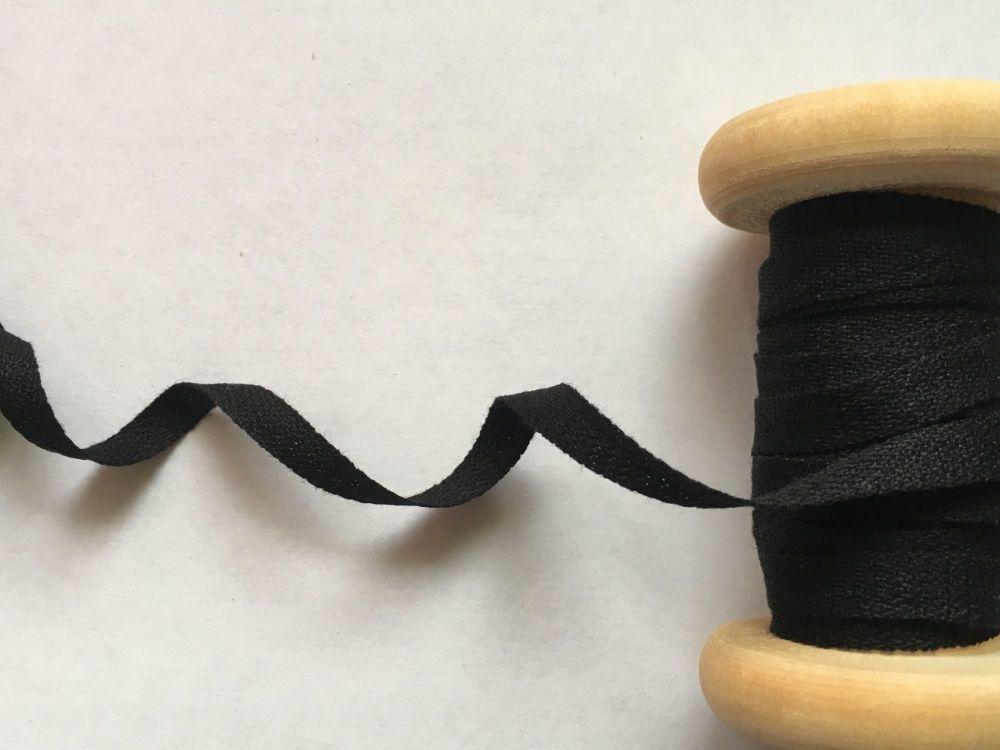 6mm Wide Black Cotton Twill Tape