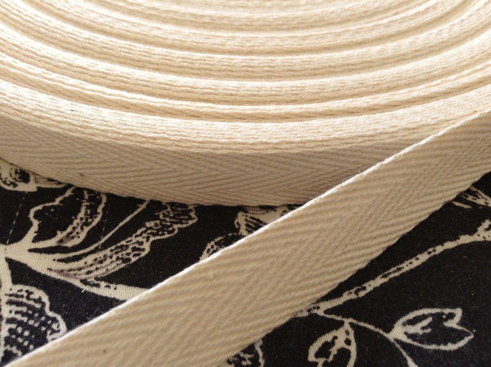 15mm Wide Cream Webbing Tape 100% Cotton