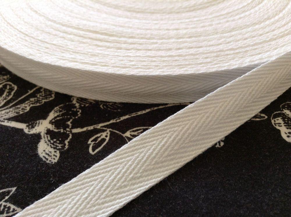 15mm White Cotton Herringbone Pattern Webbing Tape Per Metre