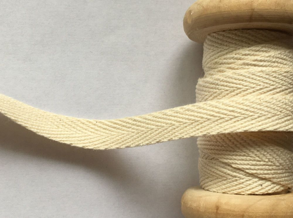 Cream Cotton Webbing Tape 10mm Herringbone Pattern Twill