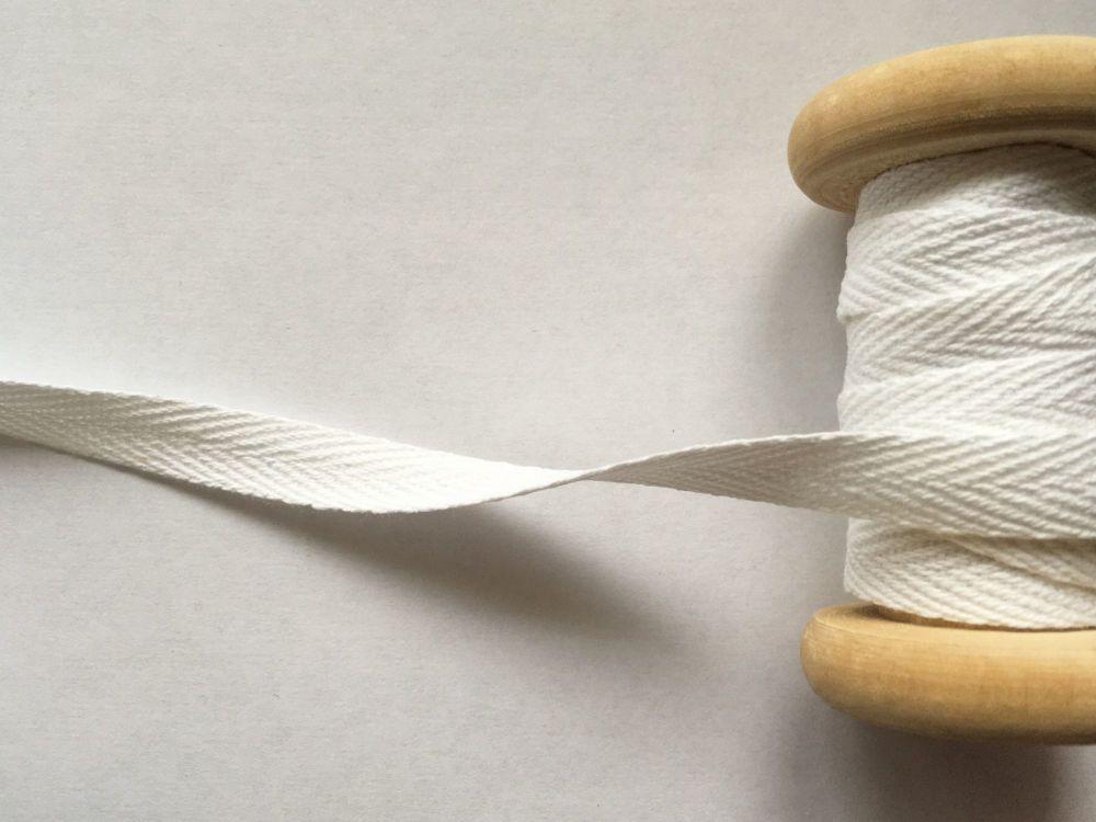 10mm Wide White Webbing Tape - Herringbone Pattern