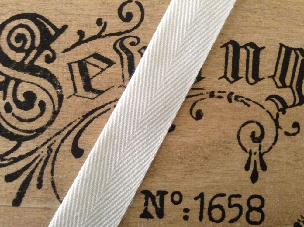 20mm Wide White Herringbone Tape 100% Cotton
