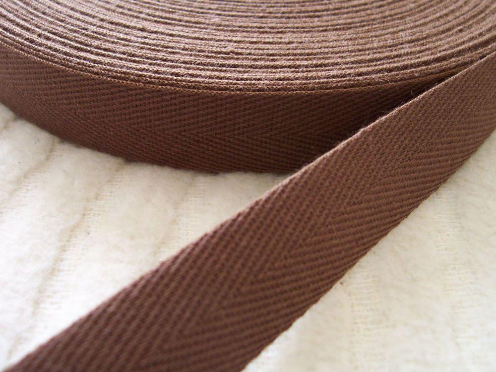 Brown Apron Ties Tape 20mm Woven Cotton Herringbone