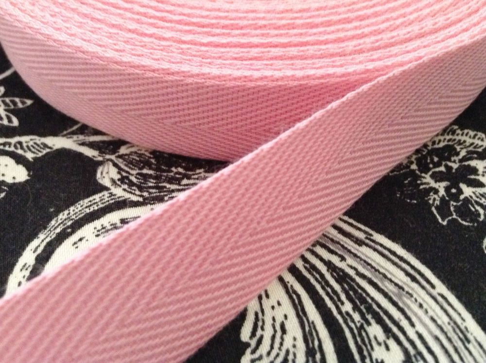 20mm Baby Pink Cotton Webbing Tape Per Metre