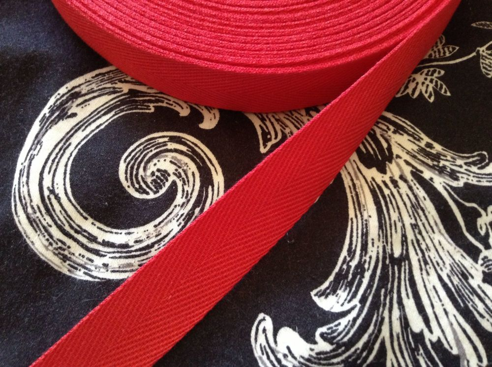 20mm Wide Red Webbing Tape 100% Cotton